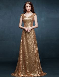 2015 Slim Fit Shoulders Golden Evening Dress