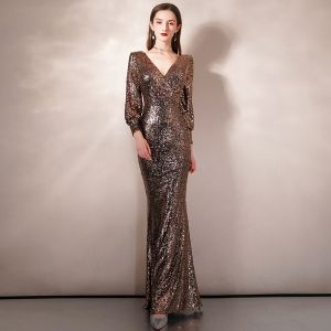 Sparkly Gold Sequins Evening Dresses  2020 Trumpet / Mermaid V-Neck Puffy 3/4 Sleeve Floor-Length / Long Formal Dresses