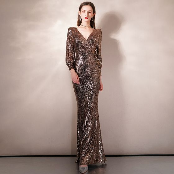 Sparkly Gold Sequins Evening Dresses  2020 Trumpet / Mermaid V-Neck Puffy 3/4 Sleeve Floor-Length / Long Formal Dresses