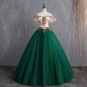 Vintage Dunkelgrün Ballkleider 2019 Ballkleid Applikationen Spitze Off Shoulder Kurze Ärmel Rückenfreies Lange Festliche Kleider