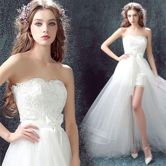 Chic / Beautiful White Beach Wedding Dresses 2017 A-Line / Princess Detachable Strapless Sleeveless Backless Sash