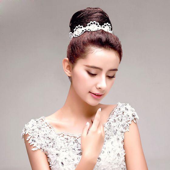 Hvid Rhinestone Blomst De Brude Hovedklæde Hoved Blomst Hår Tilbehør