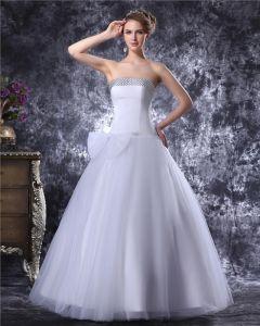 Axelbandslos Golv Langd Bowknot Beading Satin Womens Bollen Klänning Brudklänningar Bröllopsklänningar