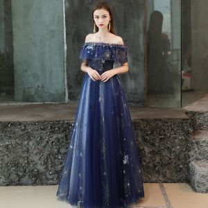 Modern / Fashion Royal Blue Evening Dresses  2019 A-Line / Princess Beading Glitter Sequins Off-The-Shoulder Backless Short Sleeve Floor-Length / Long Formal Dresses