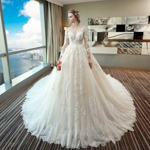 Chic / Beautiful Ivory Wedding Dresses 2018 Ball Gown Lace Appliques Scoop Neck Backless Long Sleeve Royal Train Wedding