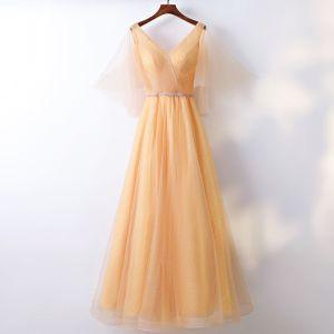 Schöne Gold Abendkleider 2017 A Linie Spitze Pailletten Rückenfreies V-Ausschnitt Kurze Ärmel Knöchellänge Festliche Kleider