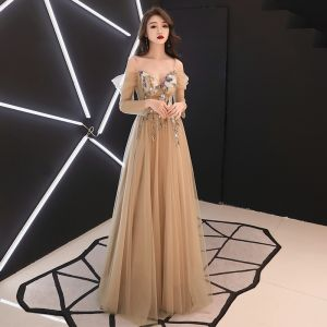 Elegant Gold See-through Evening Dresses  2019 A-Line / Princess Off-The-Shoulder Spaghetti Straps Long Sleeve Sash Appliques Lace Beading Floor-Length / Long Ruffle Backless Formal Dresses