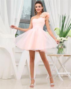 Sweetheart Flower Ruffle Sleeveless Zipper Mini Length Chiffon Woman Cocktail Dresses