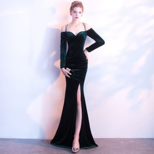 Sexy Dark Green Suede Evening Dresses  2017 Trumpet / Mermaid Spaghetti Straps Strapless Long Sleeve Floor-Length / Long Backless Formal Dresses