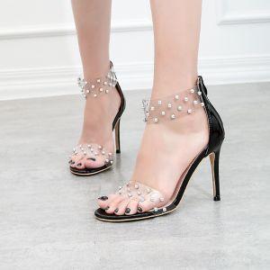 Transparent Été Noire Cocktail Rivet Sandales Femme 2020 10 cm Talons Aiguilles Peep Toes / Bout Ouvert Sandales