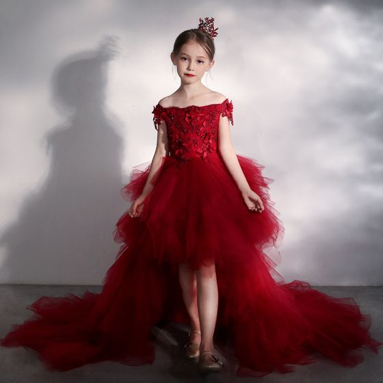 High Low Red Birthday Flower Girl Dresses 2020 Ball Gown Off-The-Shoulder Short Sleeve Backless Appliques Flower Beading Asymmetrical Court Train Cascading Ruffles