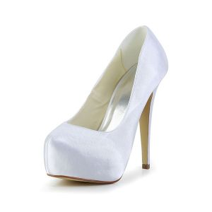 Simple White Bridal Shoes Satin Stilettos Platform Pumps