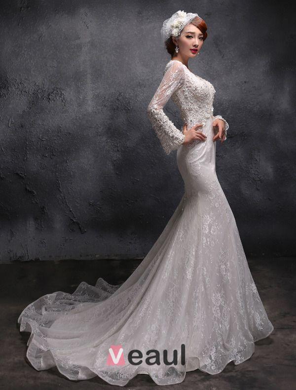 2015 Trumpet /Mermaid Sleeves Shawl Beading Pearl Lace Wedding Dress