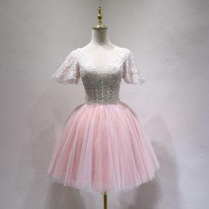 Chic / Belle Rougissant Rose Robe De Fete 2018 Princesse En Dentelle Perle V-Cou Dos Nu Manches Courtes Courte Robe De Ceremonie