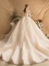 Luxury / Gorgeous Champagne Wedding Dresses 2019 A-Line / Princess Scoop Neck Beading Pearl Rhinestone Lace Flower Long Sleeve Backless Cathedral Train