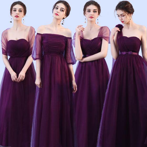 da1729da4 Vestidos para bodas Vestidos De Damas De Honor Uva Correas Cruzadas Sin  Espalda Bowknot La altura ...