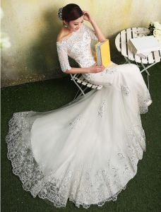 2015 Mermaid Square Neckline Sequins Appliques Lace Organza Wedding Dress