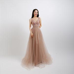 Sexy Pearl Pink Prom Dresses 2020 A-Line / Princess See-through Deep V-Neck Sleeveless Beading Pearl Rhinestone Floor-Length / Long Ruffle Backless Formal Dresses