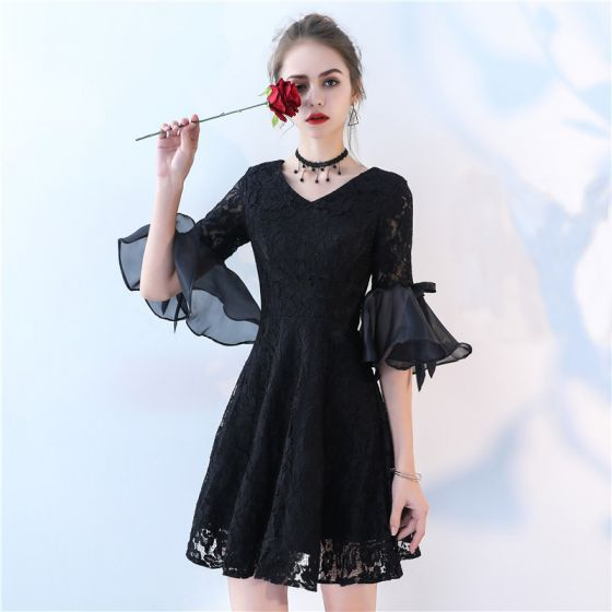 Modern / Fashion Party Dresses 2017 Black Short A-Line / Princess V-Neck 1/2 Sleeves Bow Lace Formal Dresses