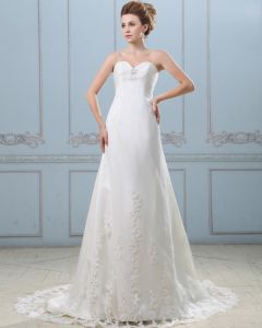 Elegant Perles Bretelles Balayage Etage Longueur Robe En Dentelle De Mariée Fourreau