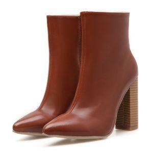 Mode Braun Strassenmode Stiefel Damen 2020 10 cm Thick Heels Spitzschuh Stiefel
