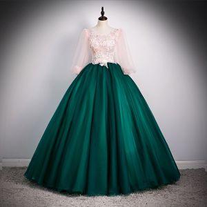 Elegant Dark Green Prom Dresses 2020 Ball Gown Scoop Neck Beading Rhinestone Appliques Lace Flower 3/4 Sleeve Backless Floor-Length / Long Formal Dresses