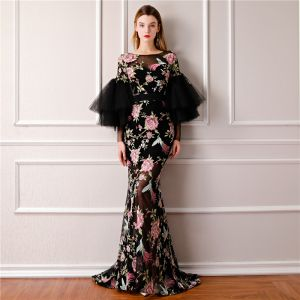 Modern / Fashion Black Summer See-through Evening Dresses  2019 A-Line / Princess Scoop Neck Puffy Long Sleeve Embroidered Flower Formal Dresses Sweep Train