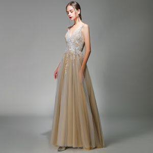 Classy Grey Gold Evening Dresses  2020 A-Line / Princess Spaghetti Straps Deep V-Neck Sleeveless Appliques Lace Beading Floor-Length / Long Ruffle Backless Formal Dresses