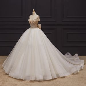 Luxury / Gorgeous Champagne Bridal Wedding Dresses 2020 Ball Gown Off-The-Shoulder Short Sleeve Backless Handmade  Beading Glitter Tulle Chapel Train Ruffle