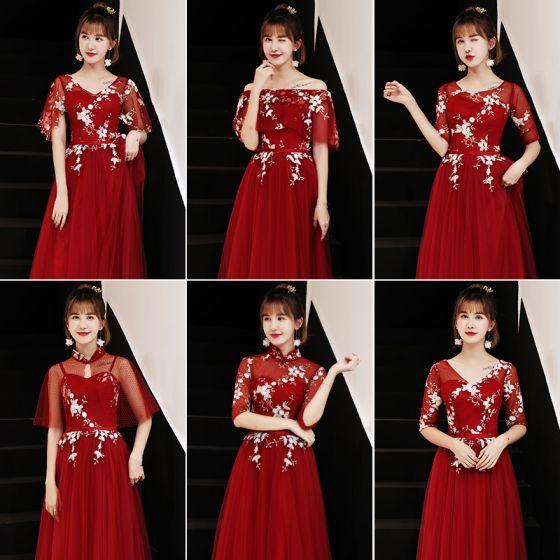 Vestidos rojos largos para damas de honor