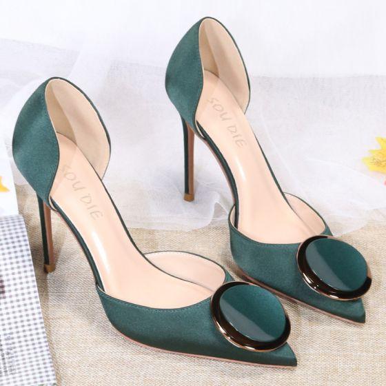 Fashion Dark Green Satin Prom Womens Sandals 2020 10 cm Stiletto Heels Pointed Toe Sandals