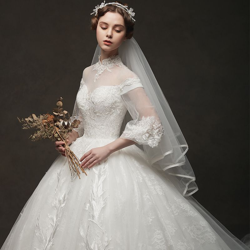 Vintage / Retro Ivory See-through Wedding Dresses 2019 Ball Gown High Neck Puffy 3/4 Sleeve Backless Appliques Lace Chapel Train Ruffle
