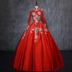 Style Chinois Rouge Robe De Bal 2019 Princesse Col Haut Appliques En Dentelle Perle 3/4 Manches Dos Nu Longue Robe De Ceremonie