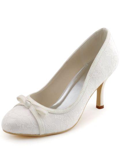Satin A Talons Hauts Noeud Dentelle Douce Chaussures De Noce Chaussures De Mariage
