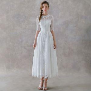 Vintage Ivory / Creme Spitze Garten / Im Freien Brautkleider / Hochzeitskleider 2019 A Linie Stehkragen 1/2 Ärmel Knöchellänge Rüschen