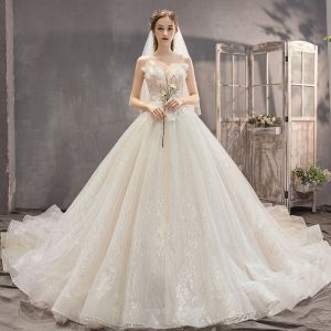 Fabulous Champagne Wedding Dresses 2019 A-Line / Princess Strapless Beading Sequins Sleeveless Backless Appliques Bow Royal Train