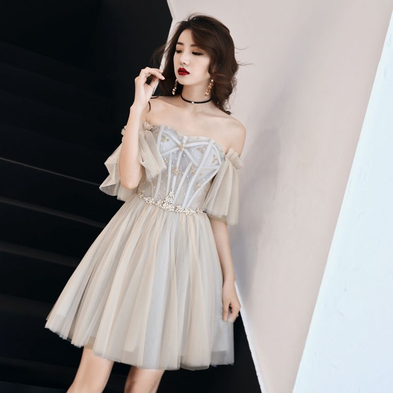 Charming Champagne Party Dresses 2019 A-Line / Princess Off-The-Shoulder Crystal Short Sleeve Backless Short Formal Dresses