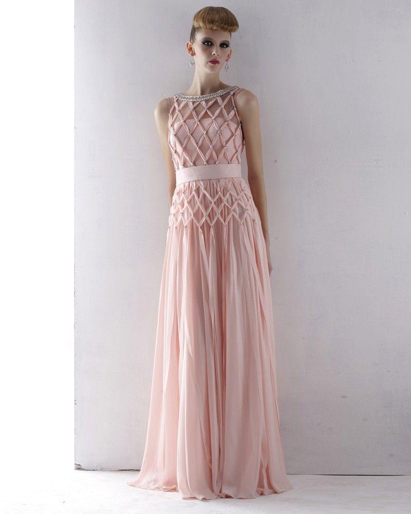 Cloth Tulle Charmeuse Jewel Neckline Bead Floor Length Evening Dress