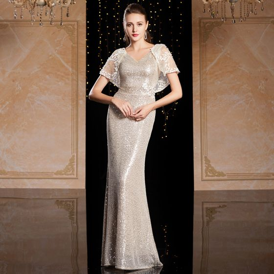 Sparkly Silver Sequins Evening Dresses  2020 Trumpet / Mermaid V-Neck Short Sleeve Appliques Lace Floor-Length / Long Backless Formal Dresses