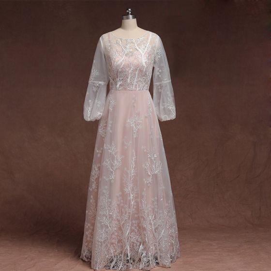Klassisk Elegant Rødmende Rosa Pluss Størrelse Selskapskjoler 2020 Prinsesse Lange Langermede U-Hals Tyll 3D Lace Appliques Brodert Aften Formelle Kjoler
