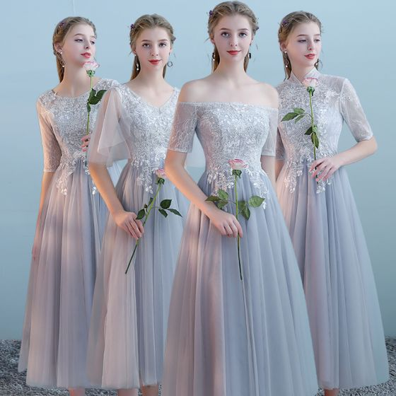 Elegant Grey Bridesmaid Dresses 2018 A-Line / Princess Appliques Lace Tea-length Ruffle Backless Wedding Party Dresses