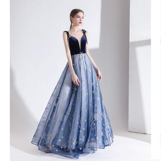 Moderne / Mode Océan Bleu Robe De Soirée 2020 Princesse Bretelles Spaghetti En Dentelle Fleur Sans Manches Dos Nu Longue Robe De Ceremonie