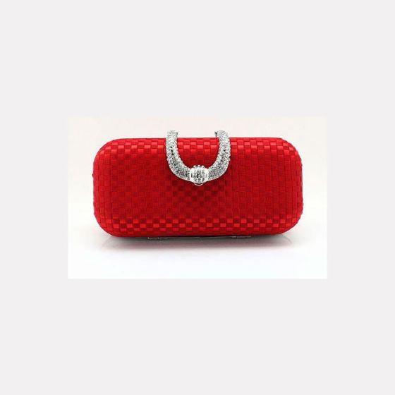 Red Hand Woven Silk Banquet Bag Dress Features Diamond Cikou Hand Bag Clutch Bags