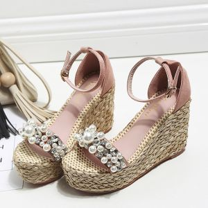 Fashion Blushing Pink Street Wear Summer Braid Womens Sandals 2020 Pearl Ankle Strap Rhinestone 10 cm Wedges Open / Peep Toe Sandals