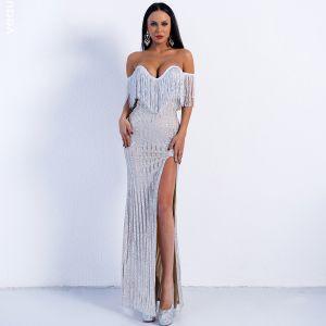 Sexy Silver Evening Dresses  2020 Trumpet / Mermaid Off-The-Shoulder Short Sleeve Tassel Glitter Tulle Split Front Floor-Length / Long Backless Formal Dresses