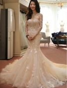 Glamorous Wedding Dresses 2016 Detachable Neckline & Sleeves Mermaid Lace Wedding Dress
