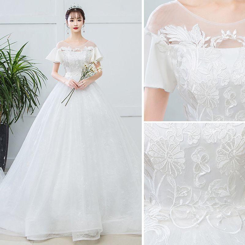 Elegant Ivory Pregnant Wedding Dresses 2019 Empire Scoop Neck Lace Flower Short Sleeve Backless Chapel Train