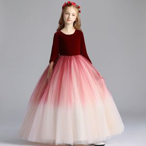 Chic / Beautiful Burgundy Gradient-Color Suede Flower Girl Dresses 2019 A-Line / Princess Scoop Neck 3/4 Sleeve Floor-Length / Long Ruffle Wedding Party Dresses