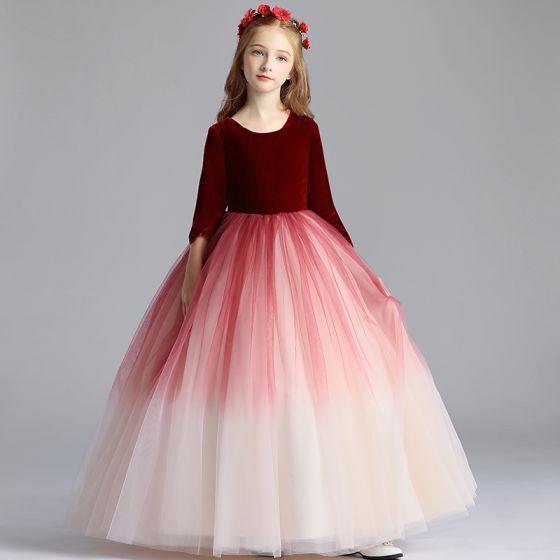 Chic / Beautiful Burgundy Gradient-Color Suede Flower Girl Dresses 2019 A-Line / Princess Scoop Neck 3/4 Sleeve Floor-Length / Long Ruffle Wedding Party Dresses