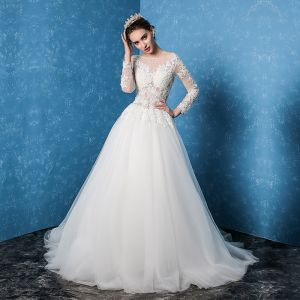 Modest / Simple White Wedding Dresses 2017 A-Line / Princess Scoop Neck Long Sleeve Backless Appliques Lace Sweep Train